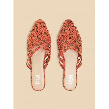 Hand Block Printed Mule In Orange