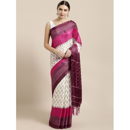 Geometric Printed Saree In White And Pink
