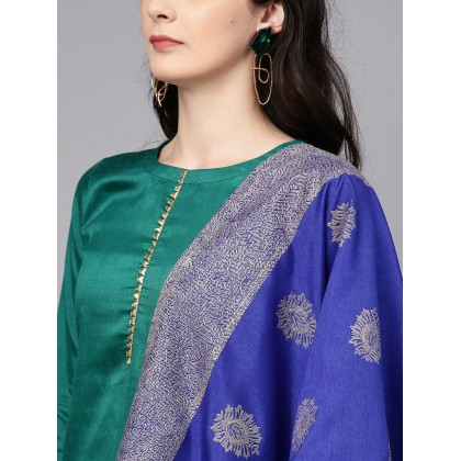 Starboard Green Solid Kurta With Pants And Blue Dupatta
