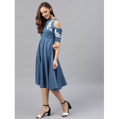 Shark Blue Cold Shoulder Solid Dress