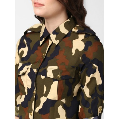 Olive And Brown Camouflage Shirt