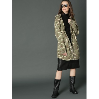 Olive And Green Camouflage Printed Jacket