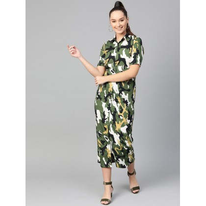 Black And Olive Camouflage Printed Dress