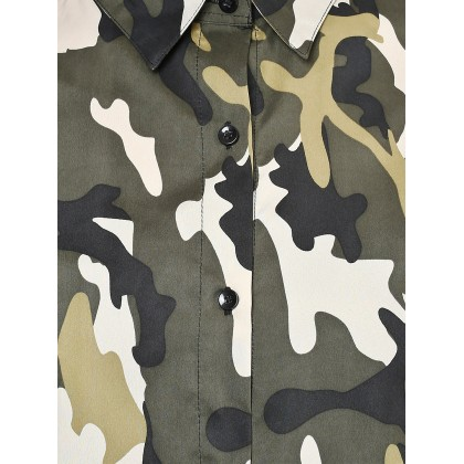 Olive And Black Camouflage Printed Shirt