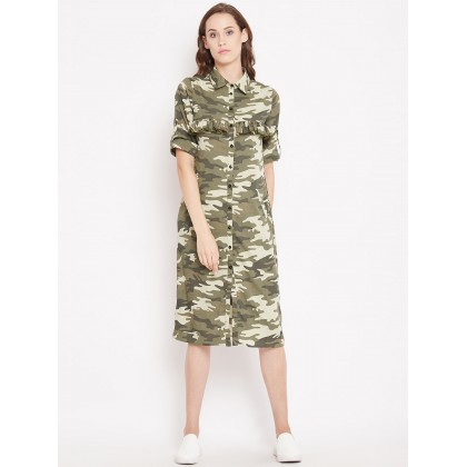 Camouflage Printed Shirt Dress