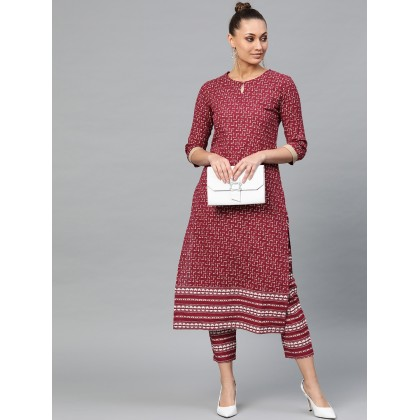 Imperial Magenta And White Printed Kurta With Pants
