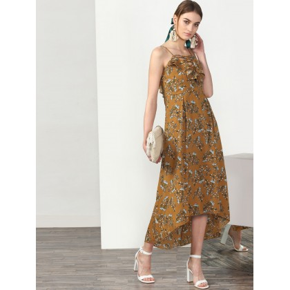 Bronze Floral Printed Dress