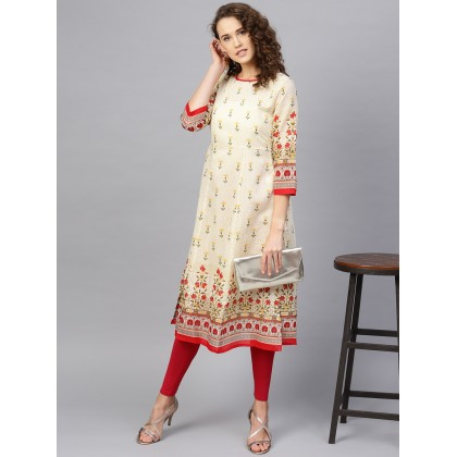 Buttercream And Red Floral Printed Kurta