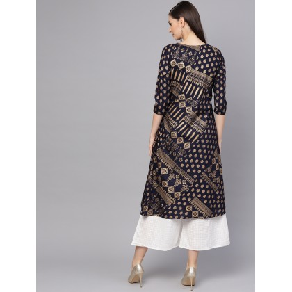Maisey Navy Blue And Gold Foil Printed Kurta With White Checkered Palazzo