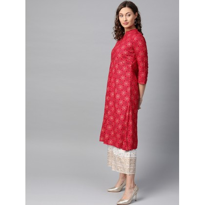 Rosso Corsa Red And Off White Printed Kurta With Palazzo