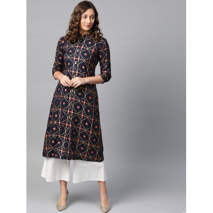 Oxford Navy Blue And Off White Printed Kurta With Palazzo