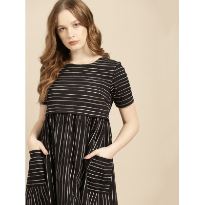 Minimalist Striped Dress In Black And White