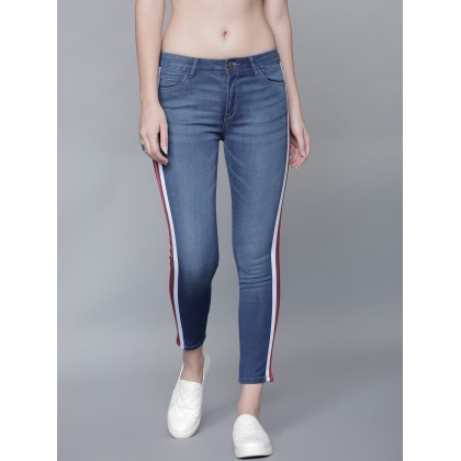 Skinny Mid Rise Jeans In Blue