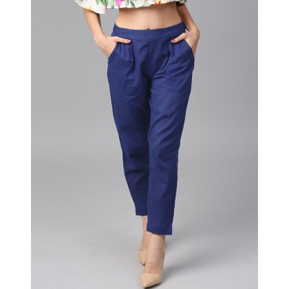 Blue Solid Cotton Slub Pants
