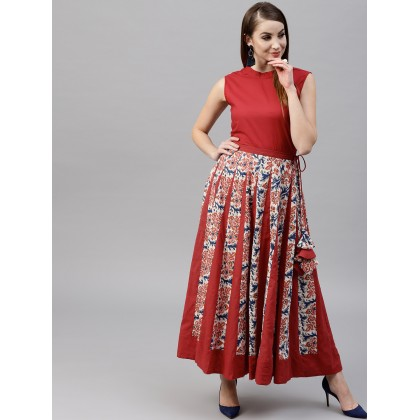 Cream And Rust Red Floral Printed Flared Skirt