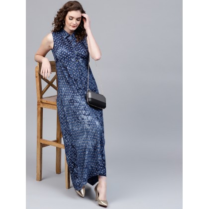 Navy Blue And Gold Printed Dress