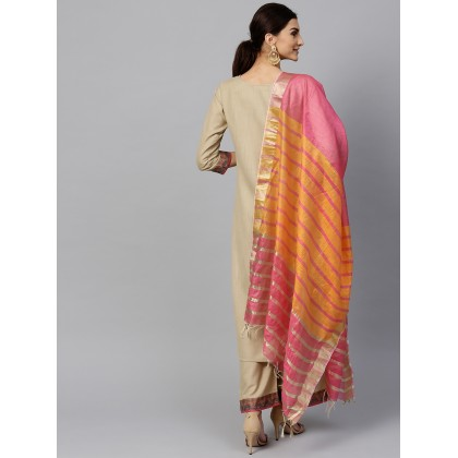 Rouge Yoke Design Kurta With Palazzo And Dupatta In Beige And Pink