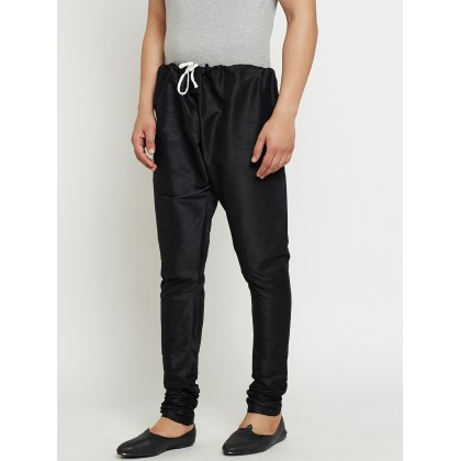Black Solid Dupion Silk Pants