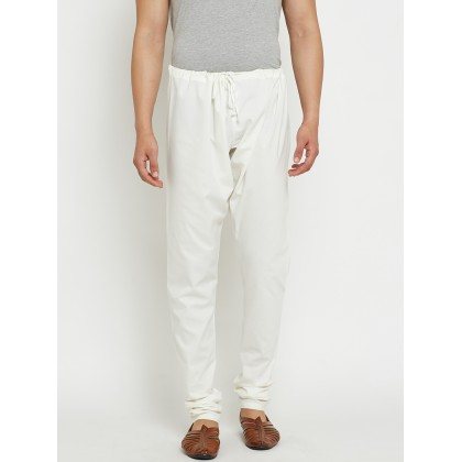 Off White Solid Dupion Silk Pants