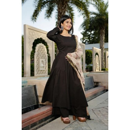 Hellebore Black Kurta With Palazzo And Dupatta