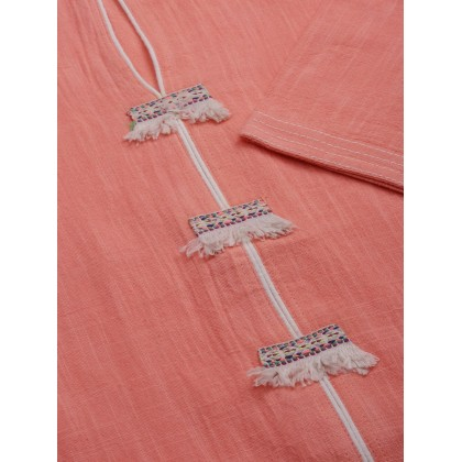 Salmon Peach And Off White Kurta With Palazzo
