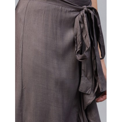Taupe Ruffle Skirt With Attached Pants