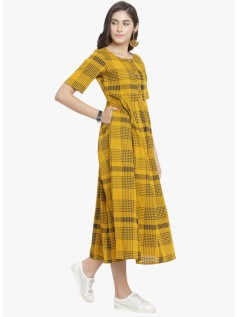 Mustard Checked Dress