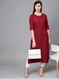 Maroon Solid Straight Kurta With Front Pockets