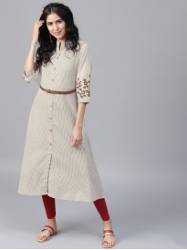 Off White And Beige Striped A-Line Kurta