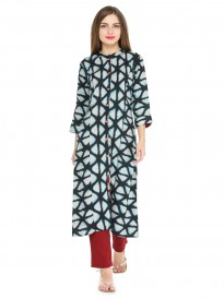 Black And Off White Printed Kurta