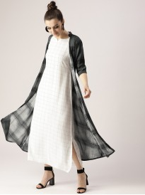 White Dress With Charcoal Grey Checkered Shrug