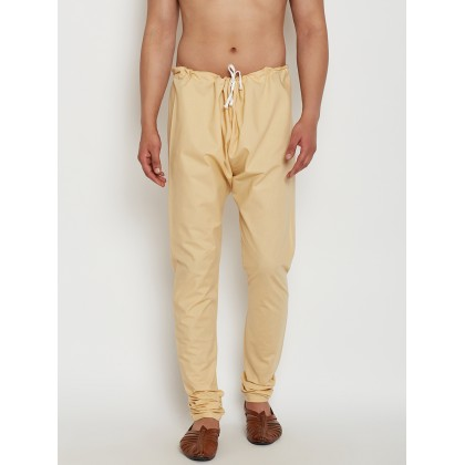 Beige Solid Dupion Silk Pants