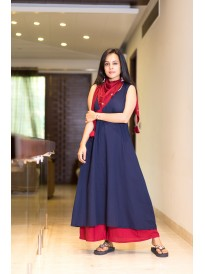 Premium Royal Blue And Maroon Kurta Set
