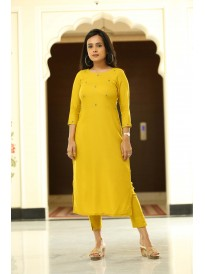 Premium Yellow Hand Work Kurta Set