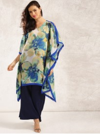 Blue And Green Sheer Kaftan Kurta
