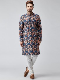Abstract Blue Multi Color Floral Printed Kurta