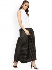 Black And Gold Checkered Flared Palazzo