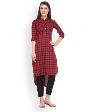 Red And Black Checkered Kurta