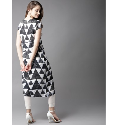 Black Geometric And Charcoal Grey Kurta