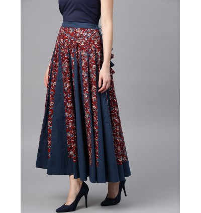 Blue And Burgundy Printed Floral Flared Skirt