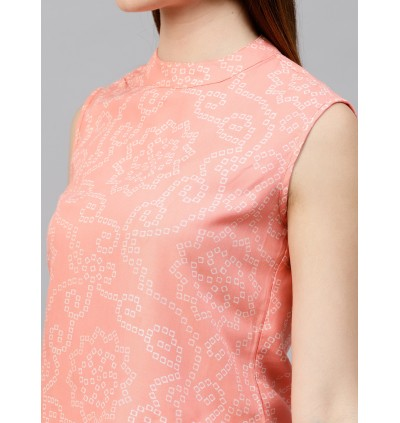 Peach Bandhani Printed Crop Top And Palazzo Set