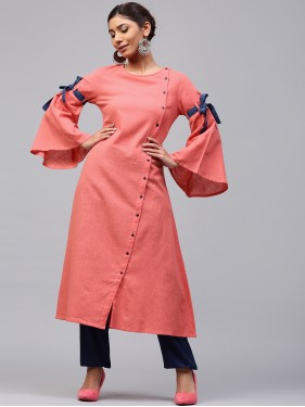 Pinky Peach Solid A-Line Kurta With Flared Sleeve