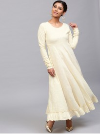 Cream Solid Flared Anarkali With Chudidaar Sleeve