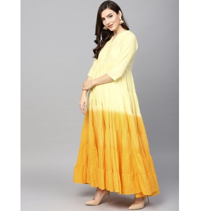 Yellow Ombre Print Tiered Flared Anarkali