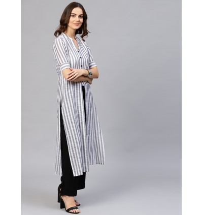 Off White Striped Straight Handloom Kurta