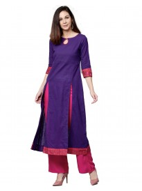 Purple And Rani Solid Cotton Slub Chanderi Kurta With Palazzo
