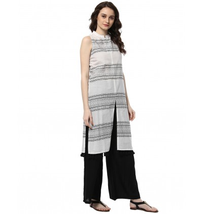 White Color Kurta And Black Palazzo