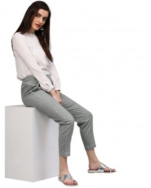 Grey Solid Cotton Slub Pants