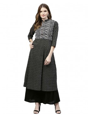 Black Geometric Straight Cotton Rayon Kurta