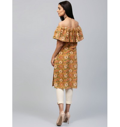 Peach And Green Floral Kurta